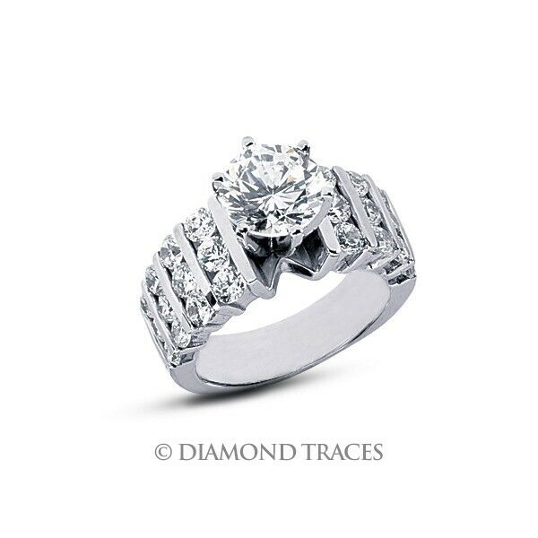 2 34 Carat H SI1 Round Cut Natural Certified Diamonds 18k Gold Engagement Ring