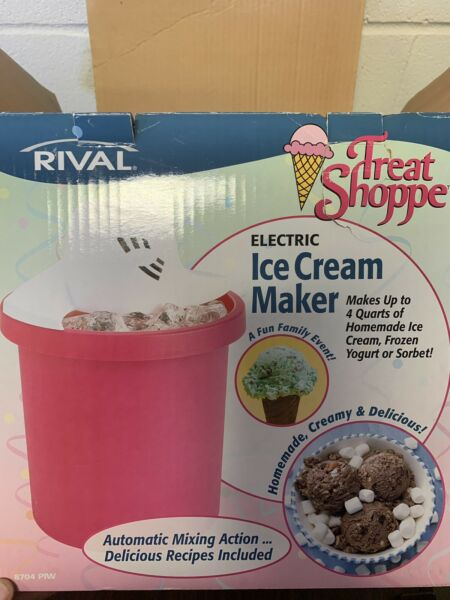 Rival Treat Shoppe Electric Automatic 4 Quart Electric Ice Cream Maker Red New