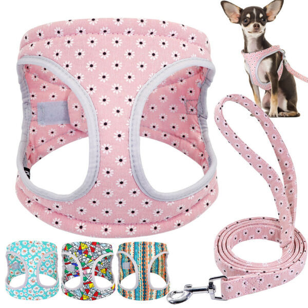 Dog Harnesses and Leash set for Small Medium Dogs Girl Boy Puppy Pink Walk Vest $13.99