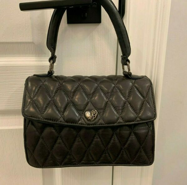 100% Authentic Quilted Small Cute!! Black Handbag with Sterling Accents