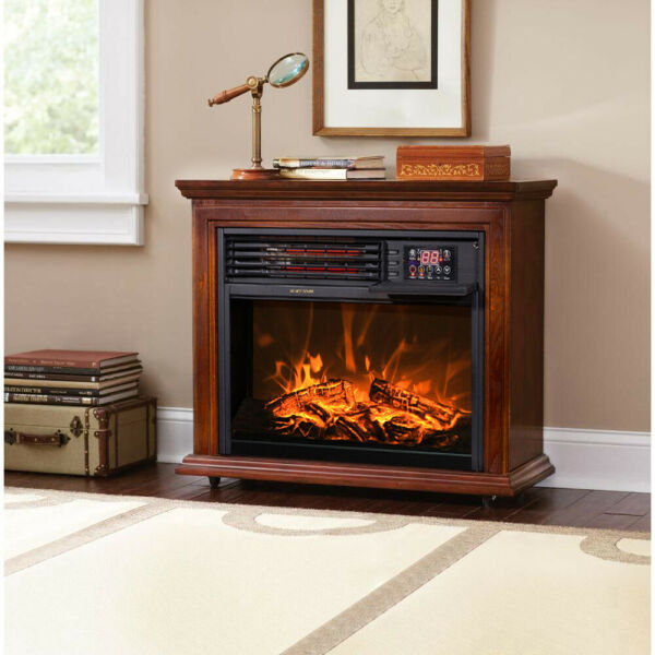 Large Room Electric Infrared Fireplace Heater Wood Mantel Oak Finish w Casters