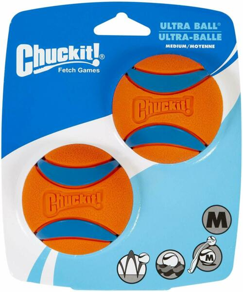 Pack of 2 Ultra High Bounce Durable Soft Rubber Ball Pet Dog Cat Orange Play Set