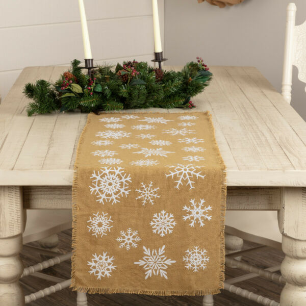 New Farmhouse Shabby Chic Christmas BURLAP WHITE SNOWFLAKE Table Runner 36quot;