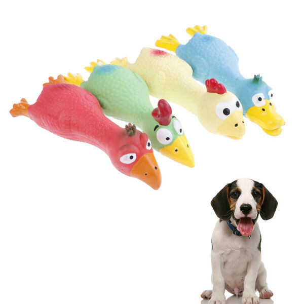 Pet Dog Puppy Cat Chews Toy Natural Latex Chicken Squeaky Sound Play Toys MF