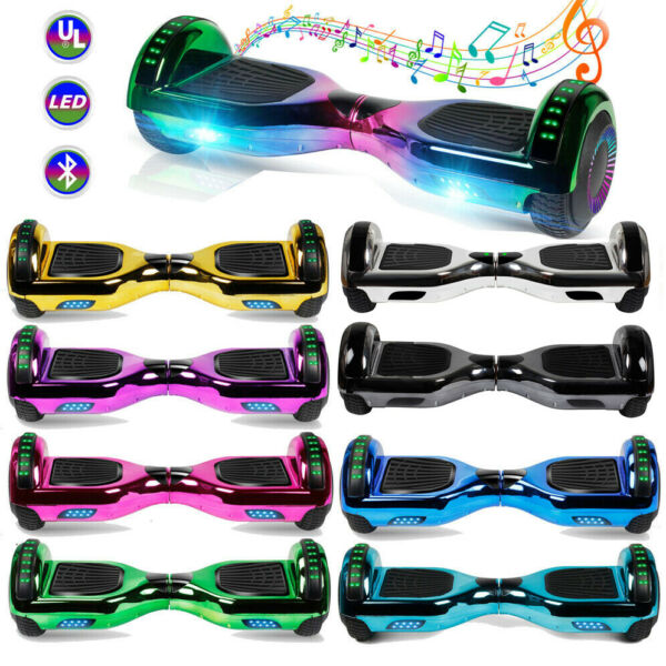 6.5'' Chrome Hoverboard Electric Self Balancing Scooter UL2272+BluetoothLEDBag