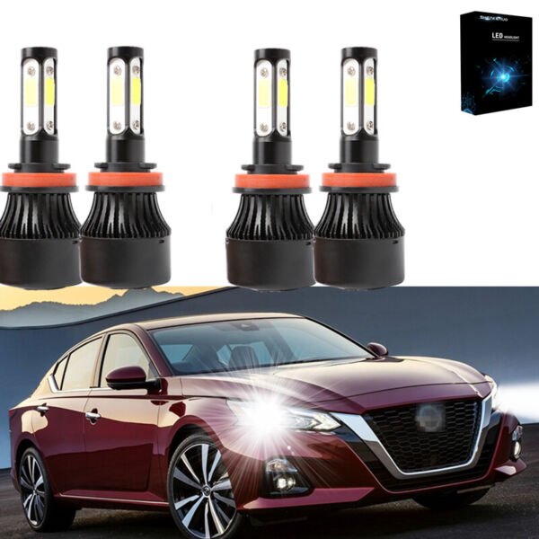 4side H9 H11 LED Headlight High Low Beam 55W For Nissan Altima 2007 2017