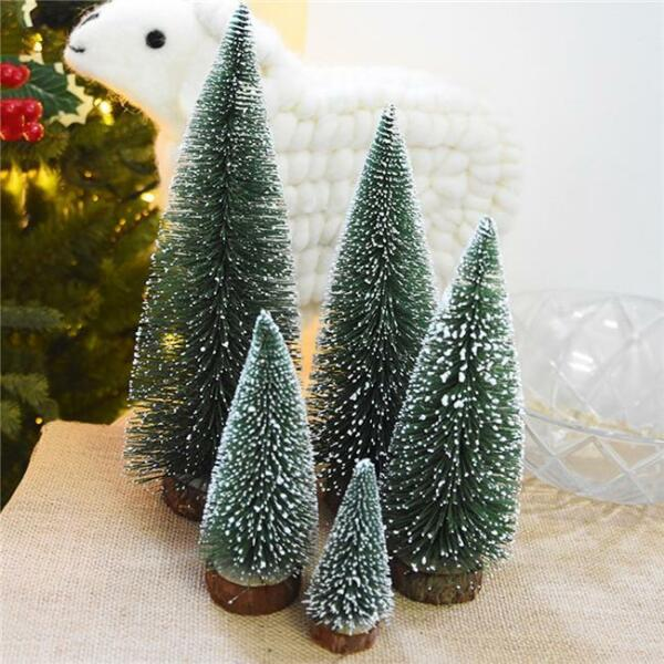 Mini Canadian Pine Artificial Christmas Tree in Faux Wood Base Decoration OO