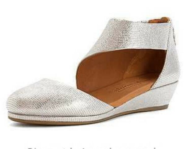NEW Gentle Souls Silver Newbury Shoes With Zipper And Demi Wedge-10