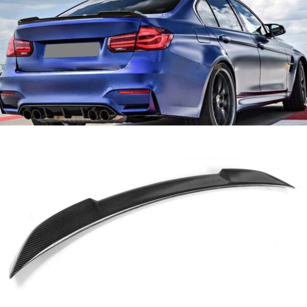 Rear Trunk Spoiler Wing M4 Type Fits for BMW F30 3Series12-17 Carbon Fiber Style