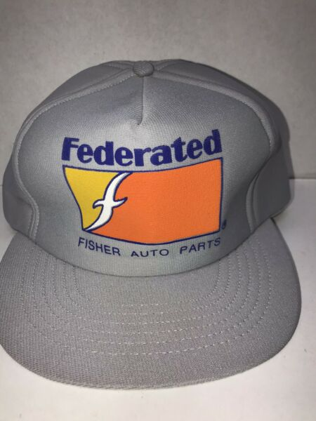 Vintage Federated Fisher Auto Parts Foam Patch Winter Foam Cap Hat Grey $13.99
