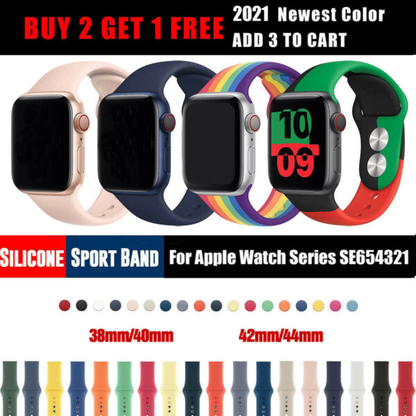 Sports iWatch Silicone Band Strap for Apple Watch 4044mm 3842mm Series 5 4 3 2