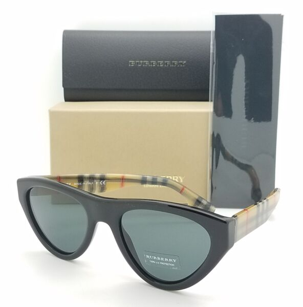 NEW Burberry Sunglasses BE4285 375787 52mm Black Burberry Plaid Grey AUTHENTIC $107.10