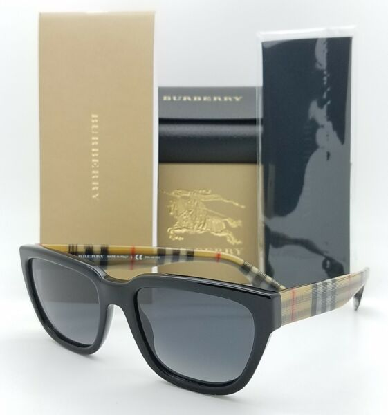NEW Burberry Sunglasses BE4277 3757T3 54mm Black Burberry Plaid Grey AUTHENTIC $161.95
