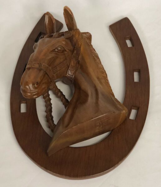 Vintage Carved Wooden Horse Pony Head 3D Wall Mount Made in Philippines