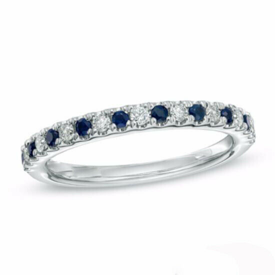 Valentine's Day 18Ct Diamond and Blue Sapphire Wedding Band in 14K White Gold