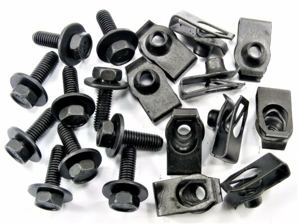 Chrysler Body Bolts & U-nut Clips- M6-1.0 x 20mm Long- 10mm Hex- 20 pcs- #150