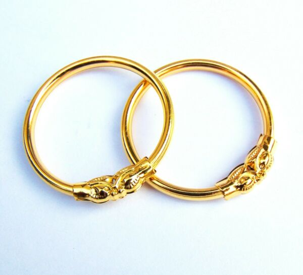 Indian Kids Kada New Born Baby To 1 Age Baby Bracelets 18k Gold Plated Bangles $7.56