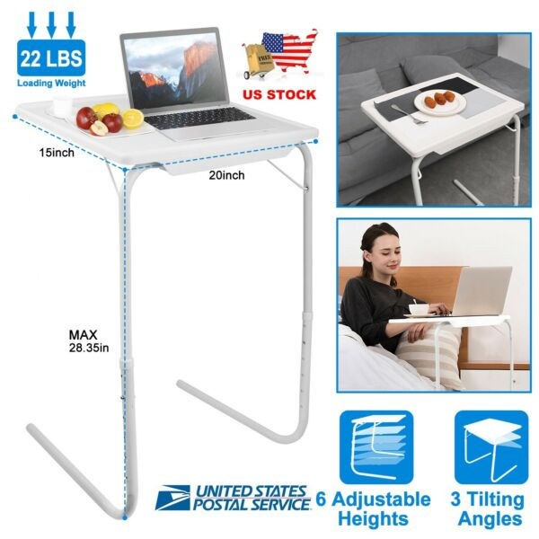 Adjustable Portable Folding Table Desk Smart TV Tray Laptop PC Dinner Bed Mate