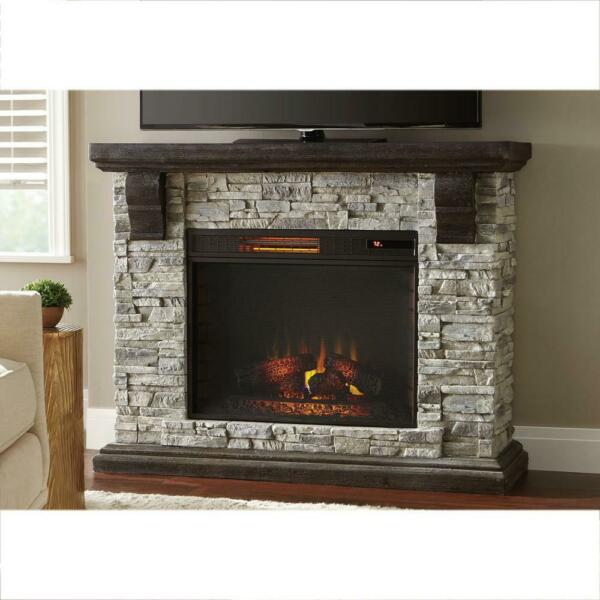 Home Decorators Collection Highland 50 In. Faux Stone Mantel Electric Fireplace
