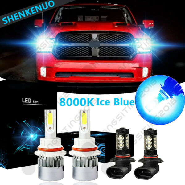 For Dodge Ram 1500 2500 3500 2002-2005 - 8000K 9007+9006 LED Headlight + Fog C6
