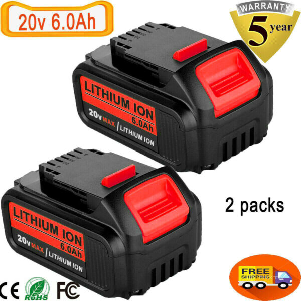 For DeWalt 20V 20 Volt Max XR 6.0AH Lithium Ion Battery DCB206 2 DCB205 2 2 Pack $48.88