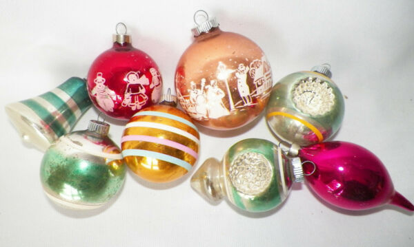 8 VTG Shiny Brite Glass Christmas Ornaments Stencil Scene Bell Indent
