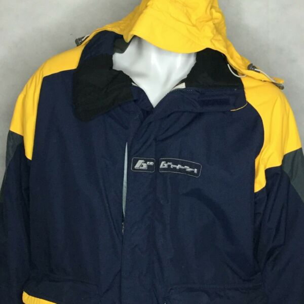 Burton Snowboard Hooded Jacket Toast Insulated Sz L Blue Yellow Winter Ski Snow