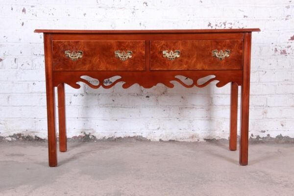 Georgian Burl Wood and Banded Mahogany Credenza or Console Table