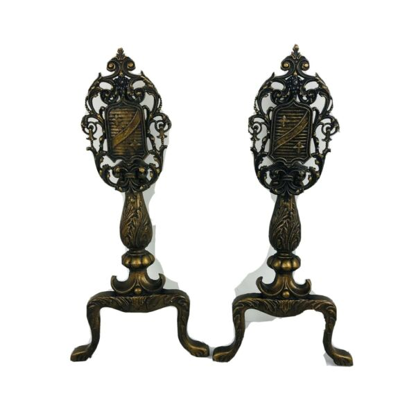 Antique Bronze Andirons - Decorative Ornate Coat of Arms - Missing Stands