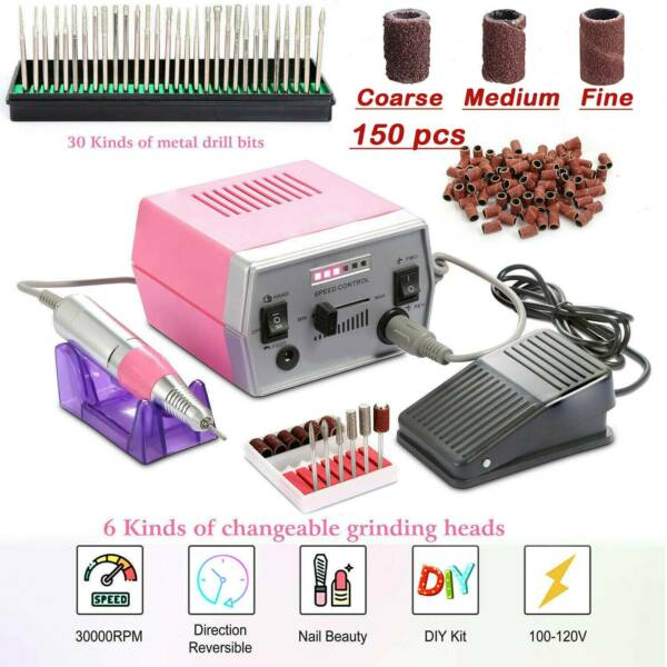 Electric Nail Drill Machine Set for Manicure & Pedicure Professional 30000 RPM