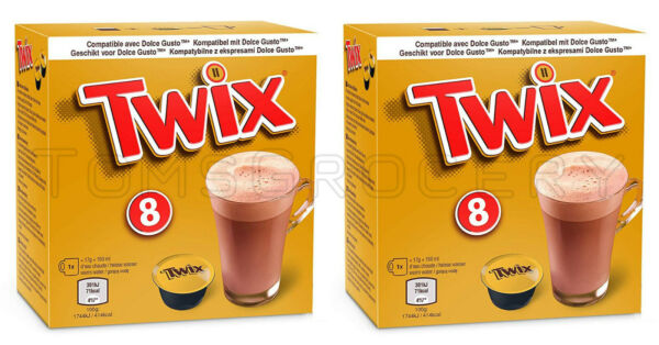 2 x TWIX Chocolate Drink Nescafe Dolce Gusto Machine Compatible Capsules