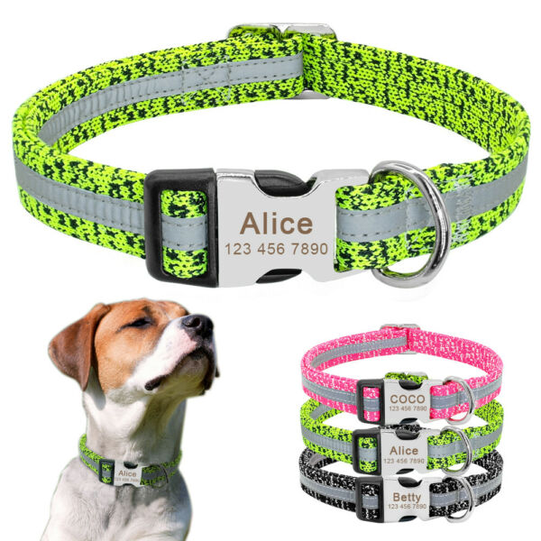 Personalized Dog Collars Reflective for Small Large Dogs Custom ID Tag Engraved $11.99