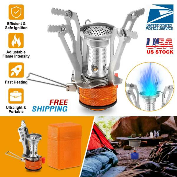 Backpacking Stove Portable Gas Burner Camping Propane Cooker w Piezo Ignition