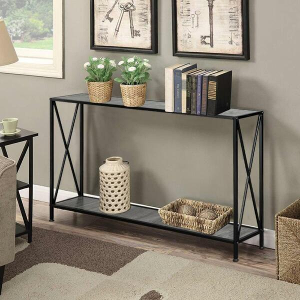 Modern Console Table Black Accent Shelf Stand Sofa Entryway Hall Furniture Black