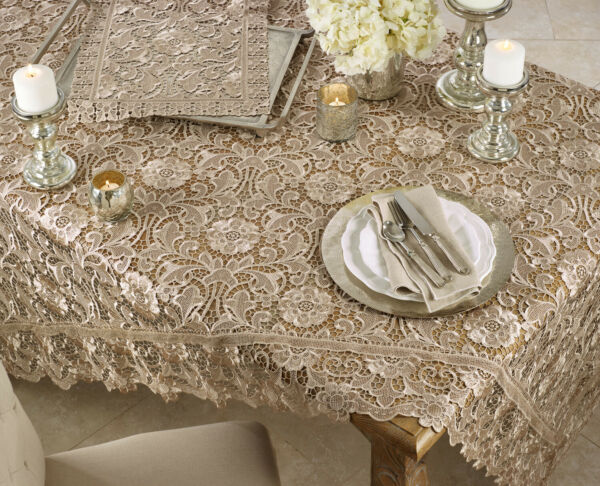 Fennco Styles Venice Lace Vintage Tablecloth - Ecru Floral Table Cover for Home