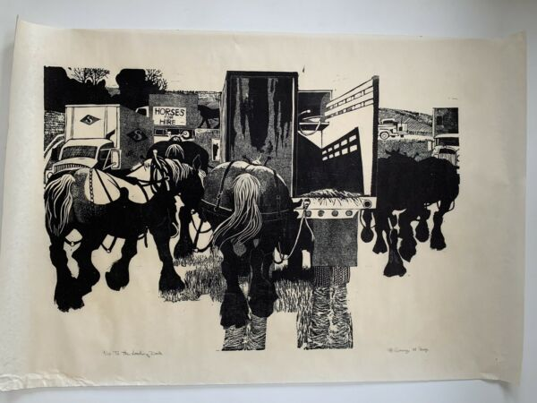Large 1988 Danny Pierce Woodblock Woodcut Print To The Loading Dock Edition 110