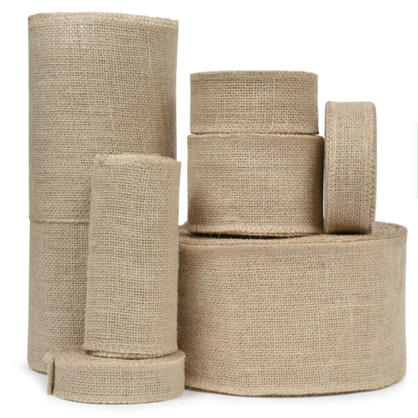 Vintage Craft Burlap Ribbon Jute Fabric Strip Spool Rustic Ornament Table Runner