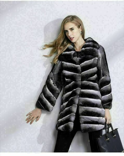 Mid Hip Chinchilla Fur Coat Diagonal Pelts Shawl Collar Premium European Fur
