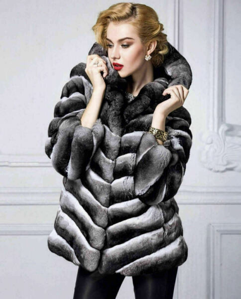 Chinchilla Fur Coat Womens Shoulder Collar Hip Length Premium European Fur Bran