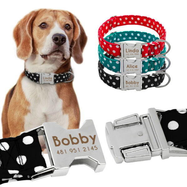 Polka Dots Dog Personalized Collars Small Large Dogs Metal ID Name Tags Engraved $6.99