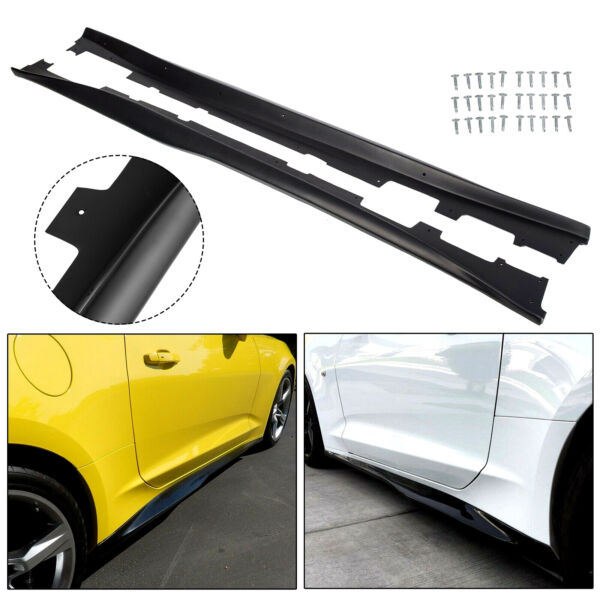 For 16-Up Camaro RS & SS ZL1 Style Black Side Skirts Panel Extension Pair