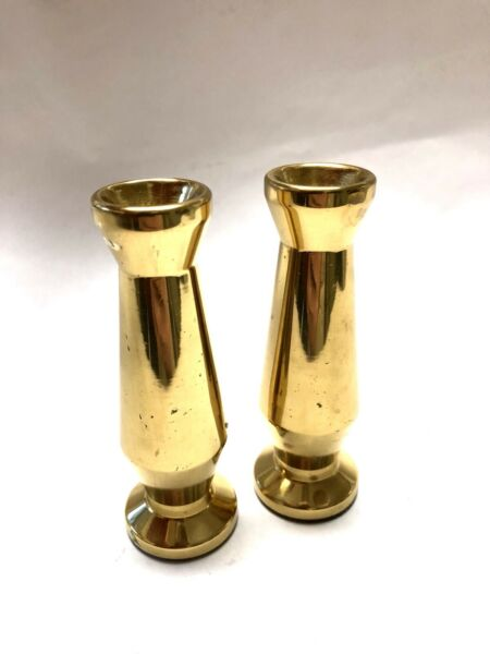 Heavy Solid Brass Candle Holders Candlesticks Set of 2 Made in USA
