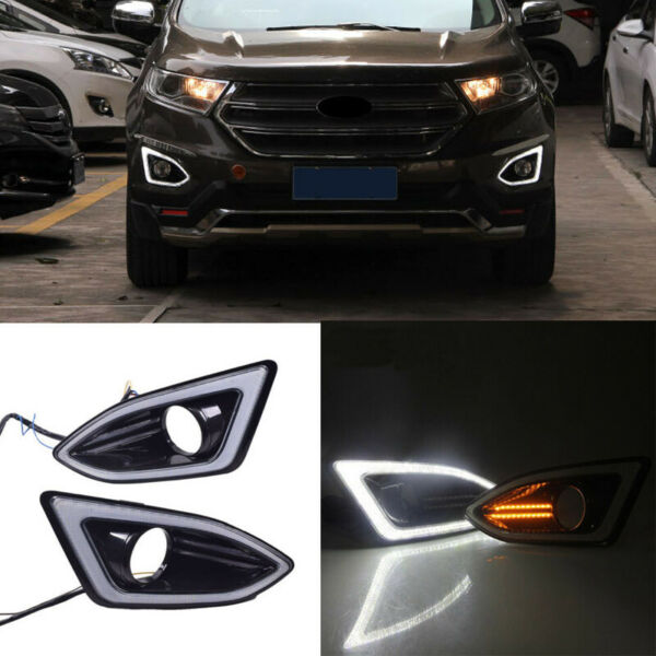 2x LED Daytime Running Light DRL Amber Turn Signal For Ford Edge 2015 2016