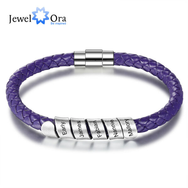 Personalized Leather Bracelet Free Engraving Names Custom Beads Stainless Steel $9.99