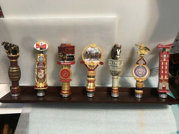 BUDWEISER LIMITED EDITION COLLECTION 7 beer tap handles. Stand Included