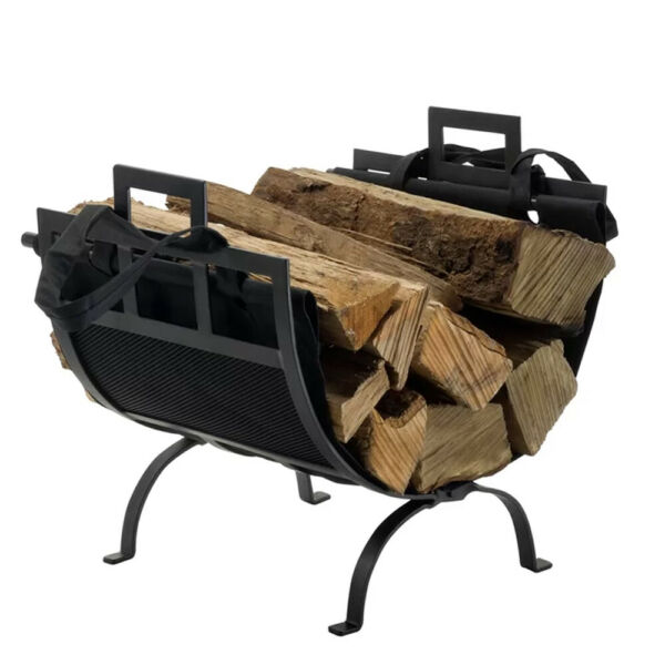 Iron Log Holder Fireplace Rack Carrier Firewood Storage Removable Canvas Tote