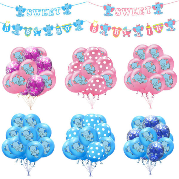 Elephant Confetti Balloons Baby Shower Banner Kid Favor Party Decor Supplies
