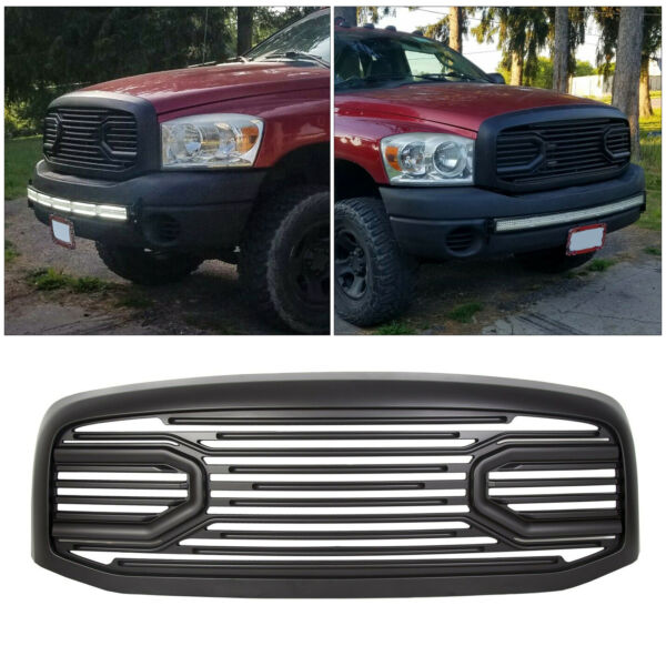For 06-09 Dodge RAM 2500 3500 Front Hood Black Big Horn Grille+Replacement Shell