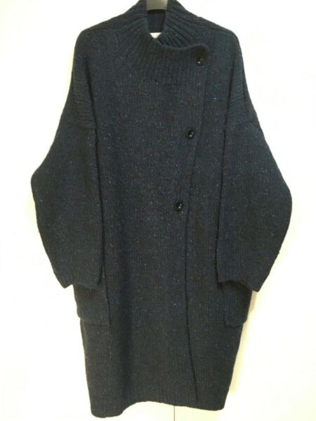 NWT Toast Colab knitted coat oversized kimono cardigan navy blue speckled L XL