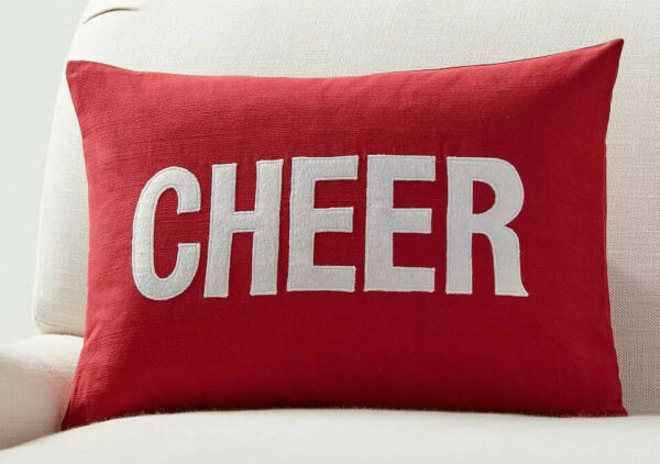 *POTTERY BARN* Christmas Cheer Applique Pillow Cover Holiday NEW Red Cherry Soft $34.50